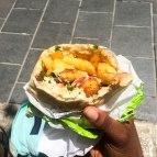 Street food, falafel pita.
